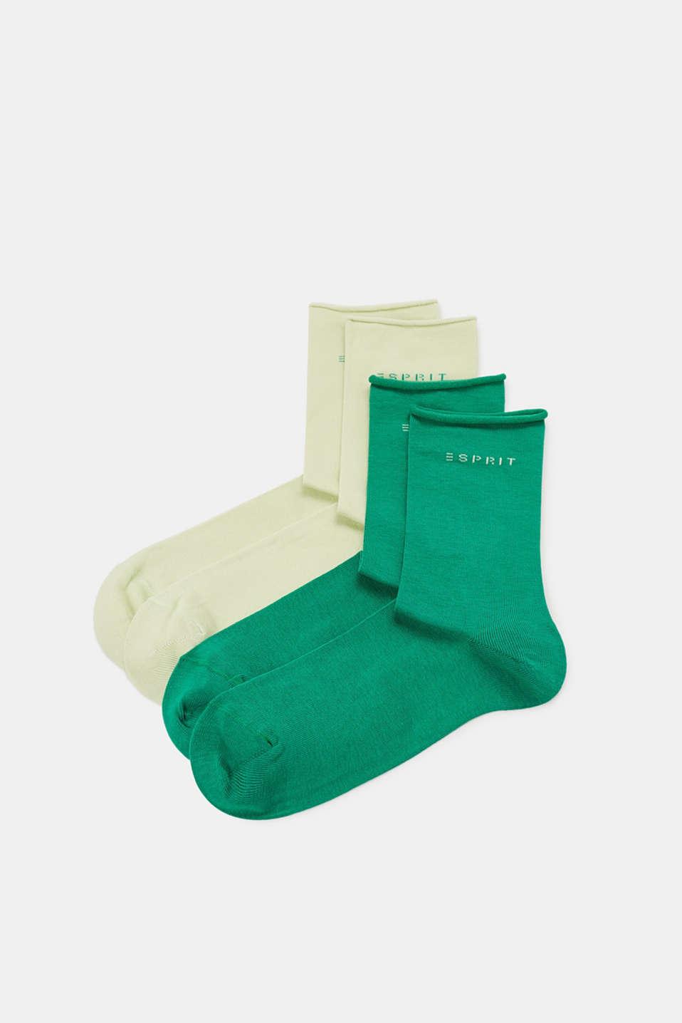 Double pack of socks in a melange look, SORTIMENT, detail image number 0