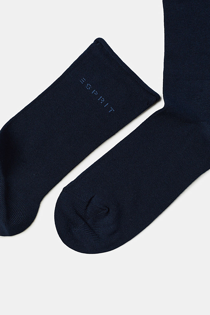 Socken mit Rollbündchen aus Baumwoll-Mix, MARINE, detail image number 1