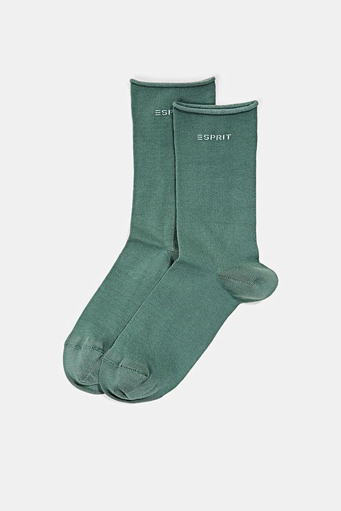 Sokker med rullekant af bomuldsblanding, DARK JADE, detail image number 0