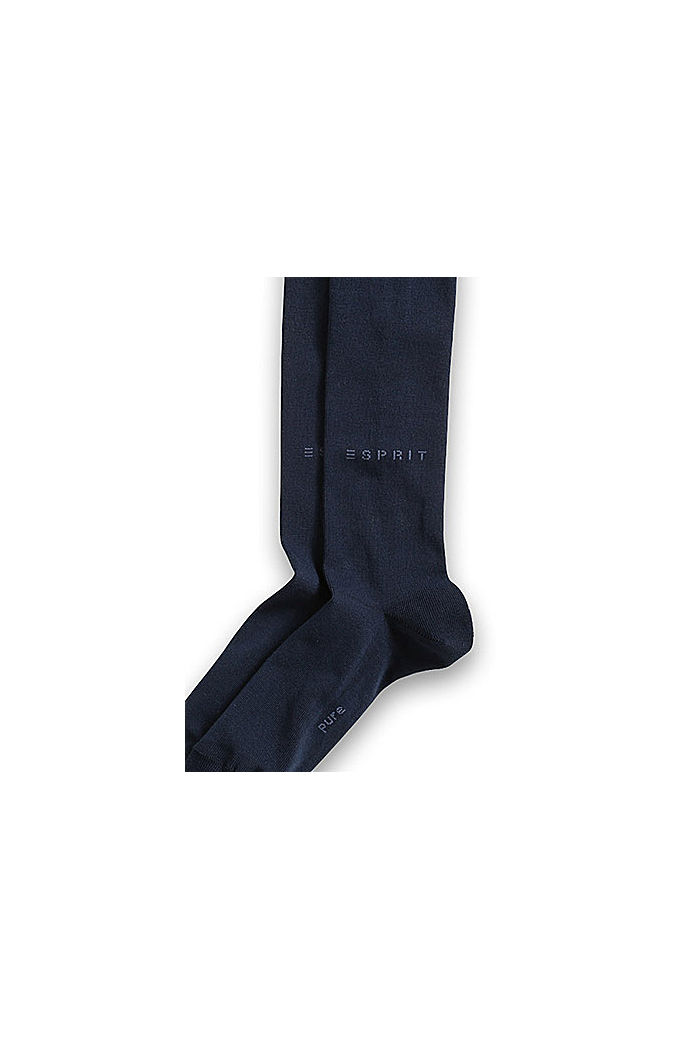 Knee-high socks made of blended cotton, MARINE, overview