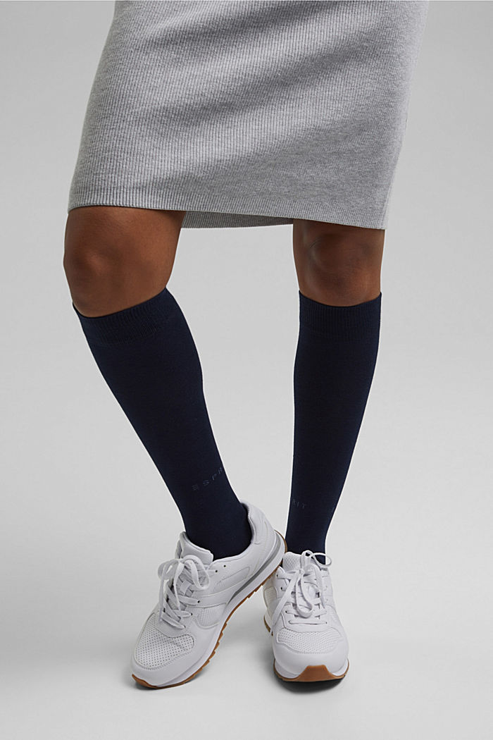 Knee-high socks made of blended cotton, MARINE, detail image number 0
