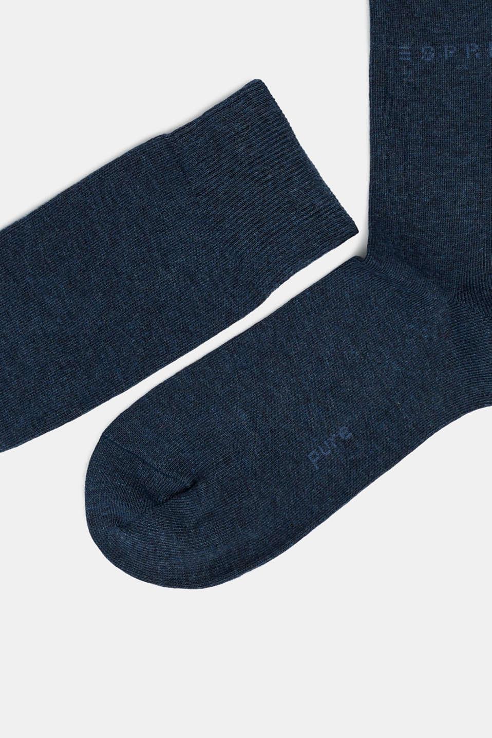 Knee-high socks made of blended cotton, NAVYBLUE M, detail image number 1
