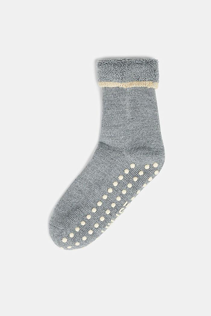 Soft stopper socks with new wool, MEDIUM GREY MELANGE, detail image number 0