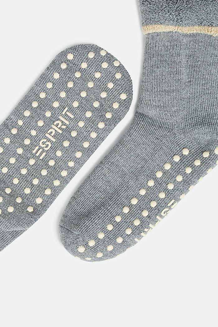 Soft stopper socks with new wool, MEDIUM GREY MELANGE, detail image number 1
