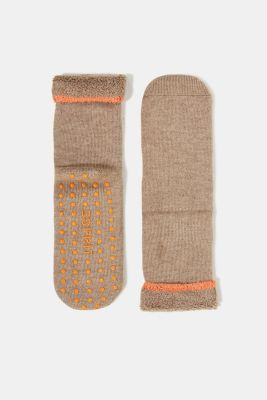Soft stopper socks with new wool, NUTMEG MEL, detail