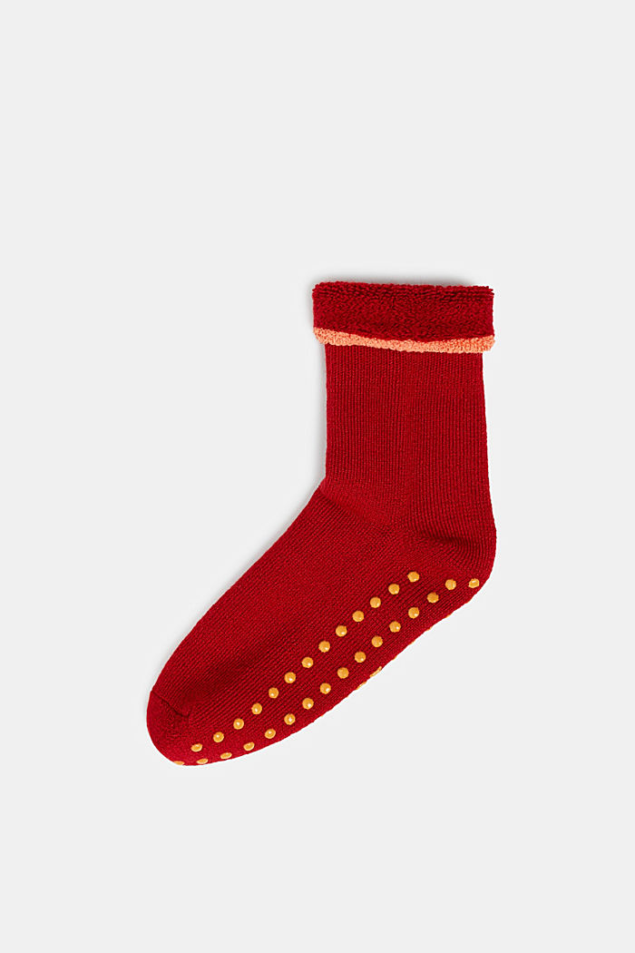 Soft stopper socks with new wool, RED, detail image number 0