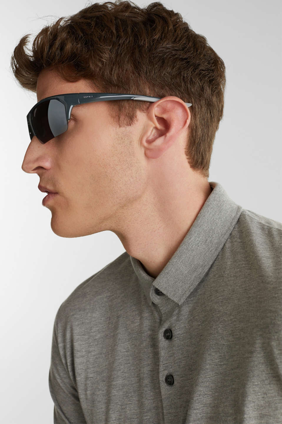 Sports sunglasses with mirrored lenses, LCGRAY, detail image number 2