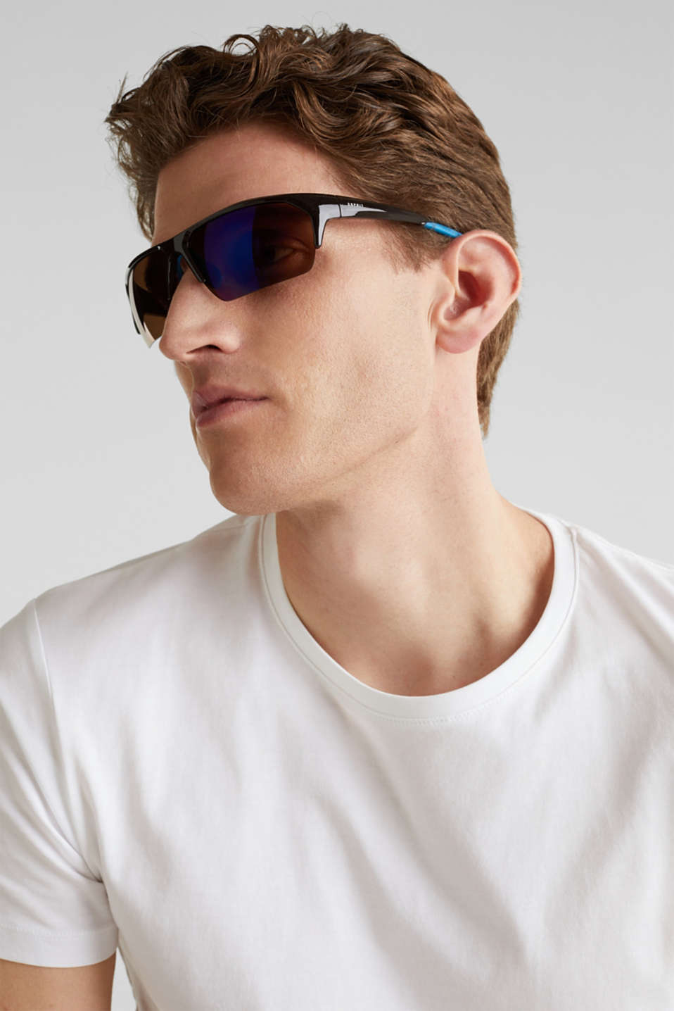 Sports sunglasses with mirrored lenses, LCBROWN, detail image number 3