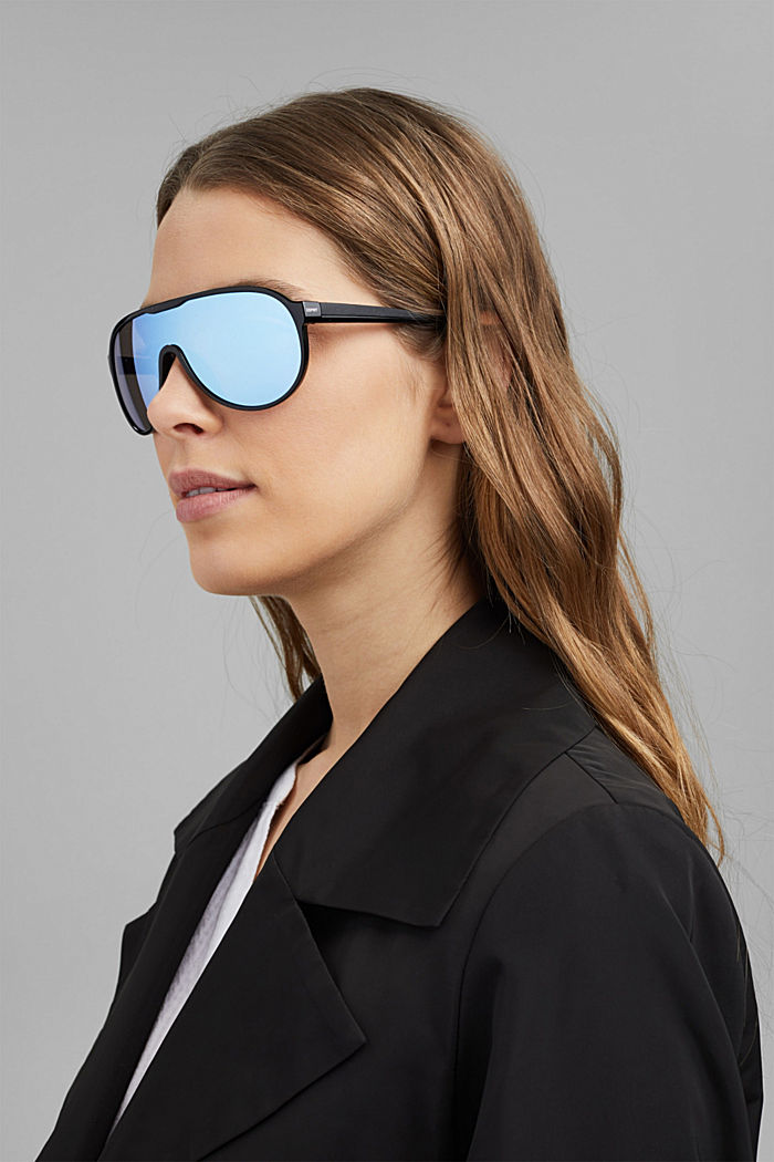 Sportsolglasögon i shield-design, BLUE, detail image number 4
