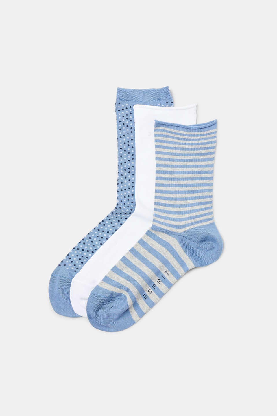 3 pairs of socks, 3 variations: soft cotton blend socks – one pair plain, one striped and one pair with a diamond pattern
