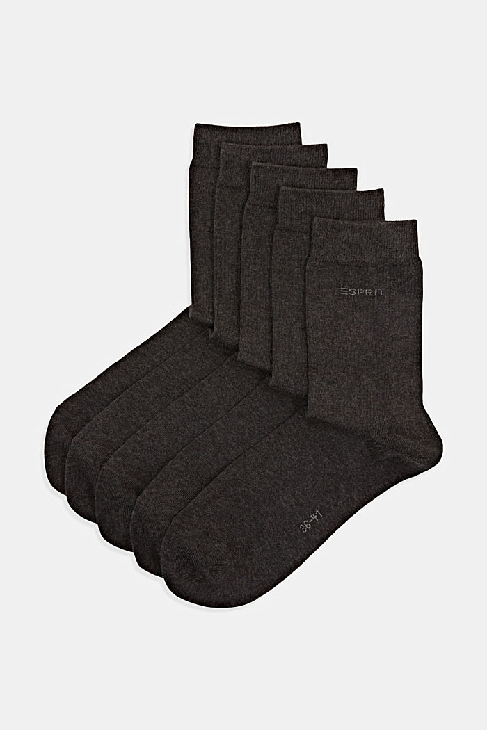 5er-Pack unifarbene Socken, ANTHRACITE MELANGE, overview