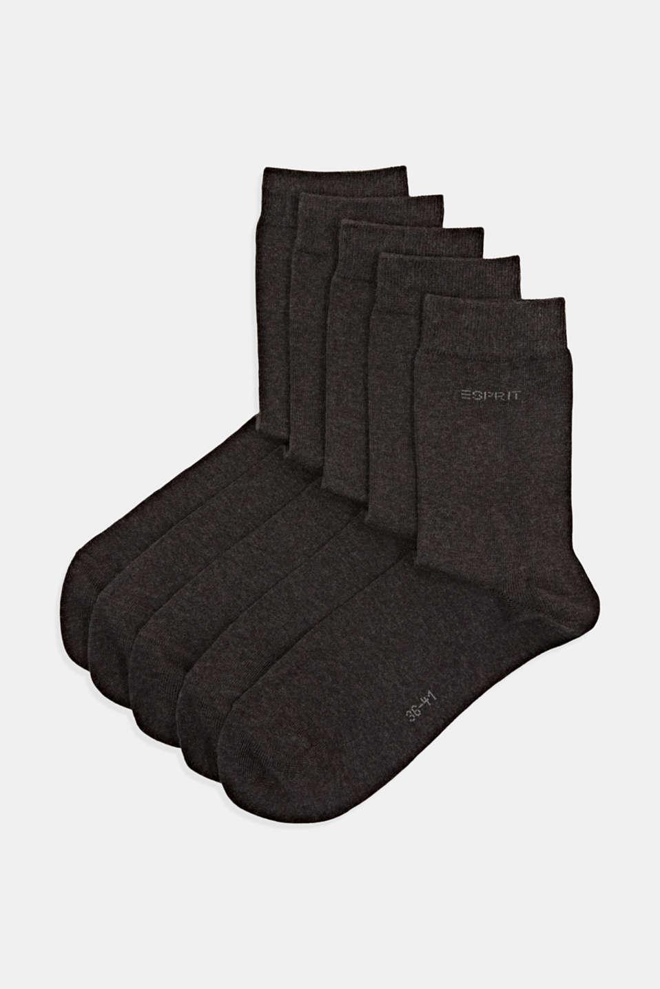 pack of 5 plain socks, ANTHRACITE MELANGE, detail image number 0