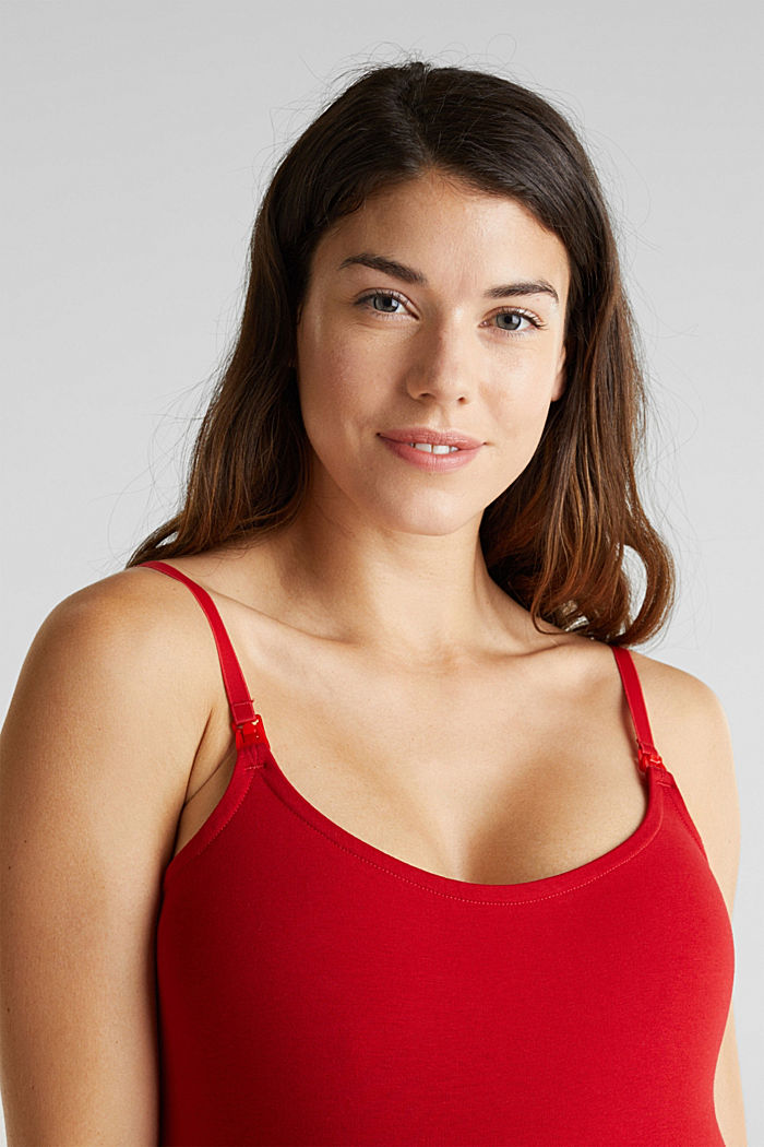 Stretch cotton nursing top, RED, detail image number 6