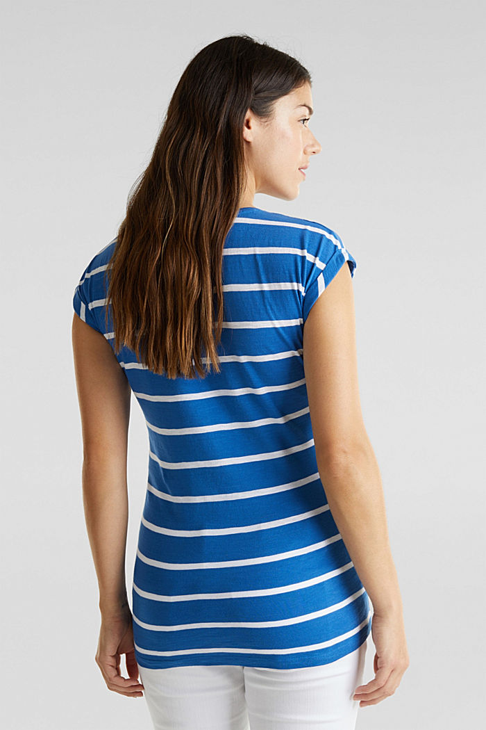 T-shirt with stripes, 100% cotton, GREY BLUE, detail image number 3