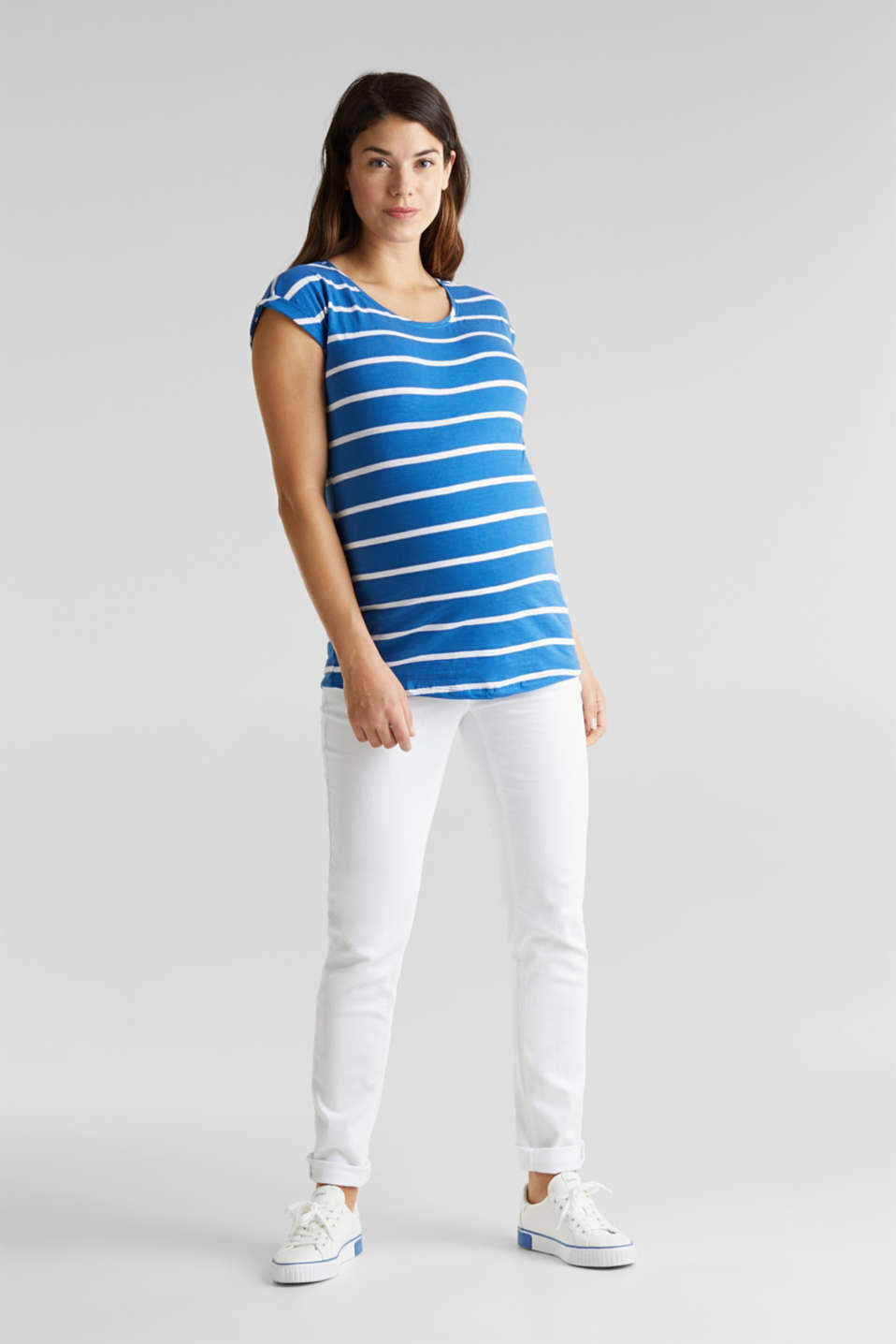 T-shirt with stripes, 100% cotton, LCGREY BLUE, detail image number 1