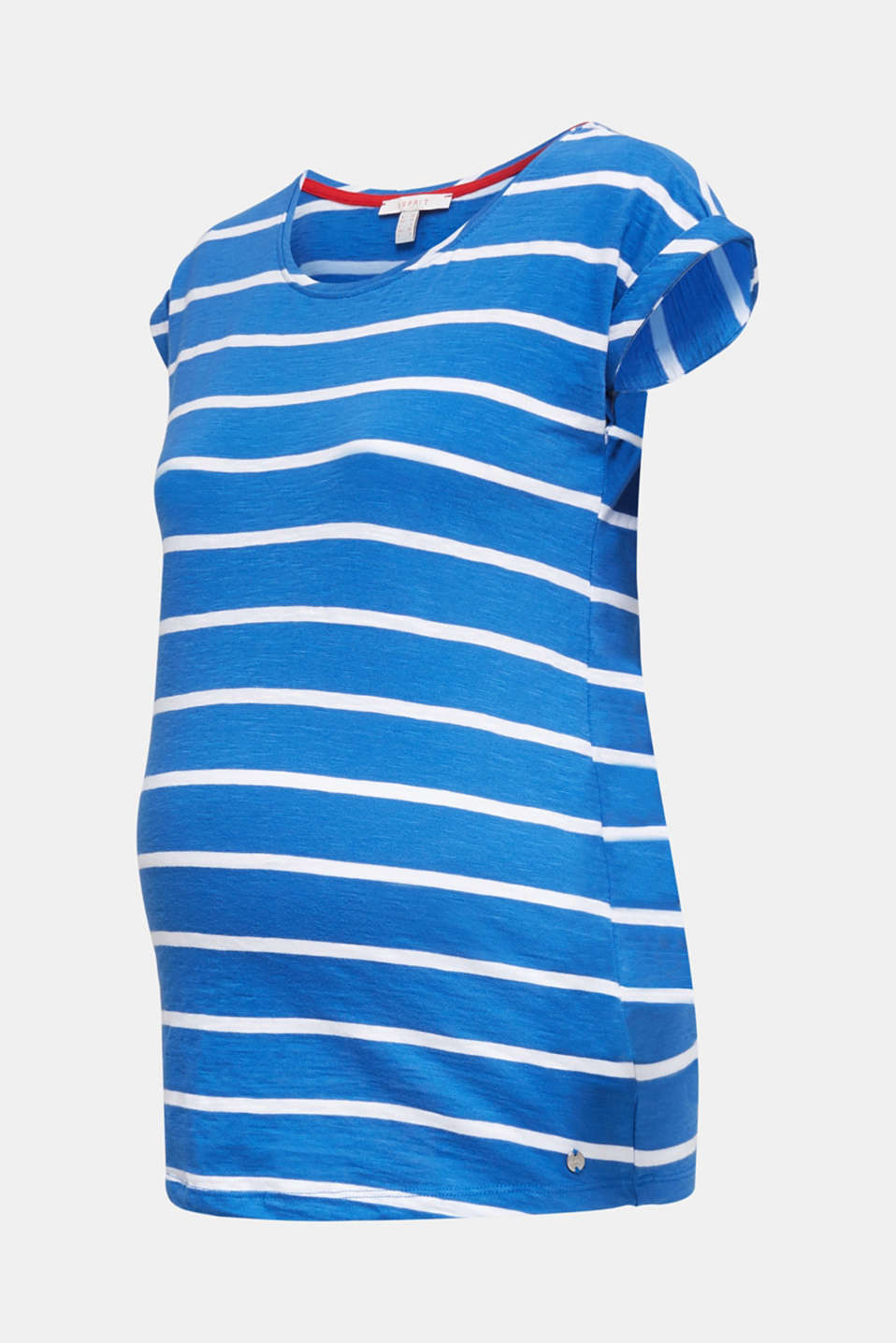 T-shirt with stripes, 100% cotton, LCGREY BLUE, detail image number 6