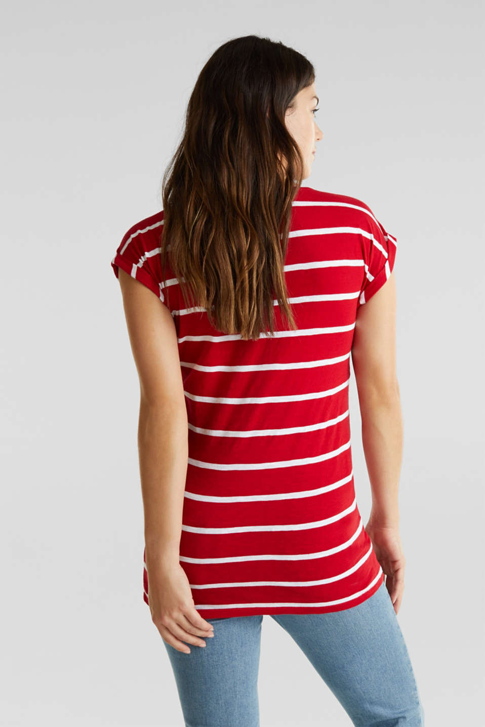 T-shirt with stripes, 100% cotton, LCRED, detail image number 3