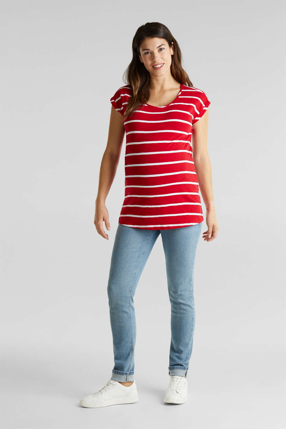 T-shirt with stripes, 100% cotton, LCRED, detail image number 1