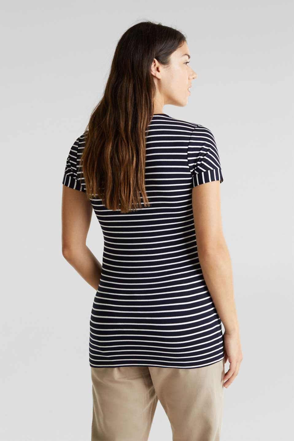 Nursing top with stripes and pleats, LCNIGHT BLUE, detail image number 3