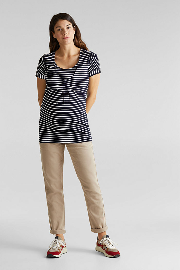 Nursing top with stripes and pleats, NIGHT BLUE, detail image number 1