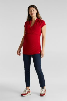 Nursing top made of stretch jersey with a shawl collar, LCRED, detail