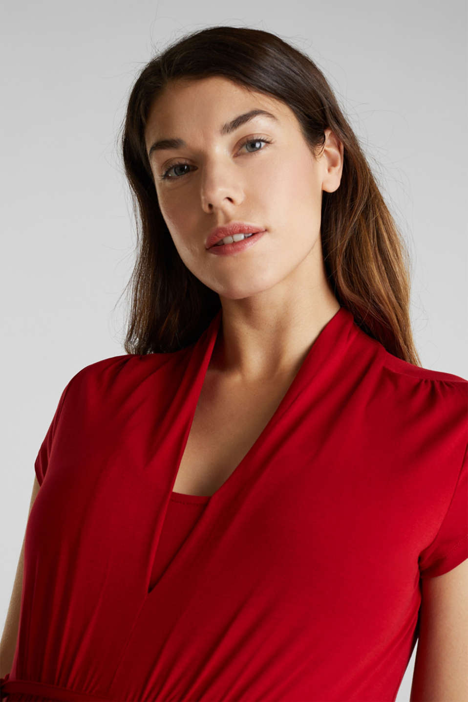 Nursing top made of stretch jersey with a shawl collar, LCRED, detail image number 7