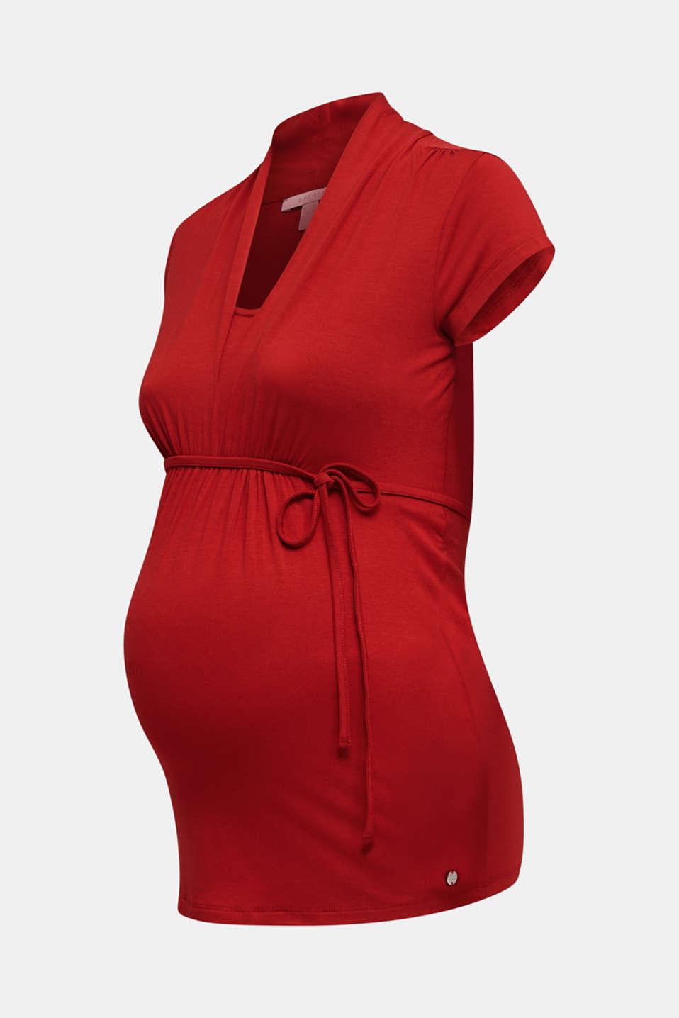 Nursing top made of stretch jersey with a shawl collar, LCRED, detail image number 8