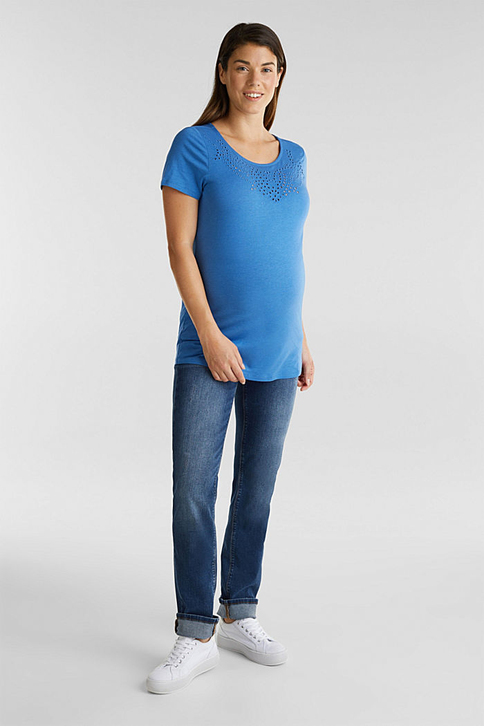 Shirt mit Loch-Stickerei, GREY BLUE, detail image number 1