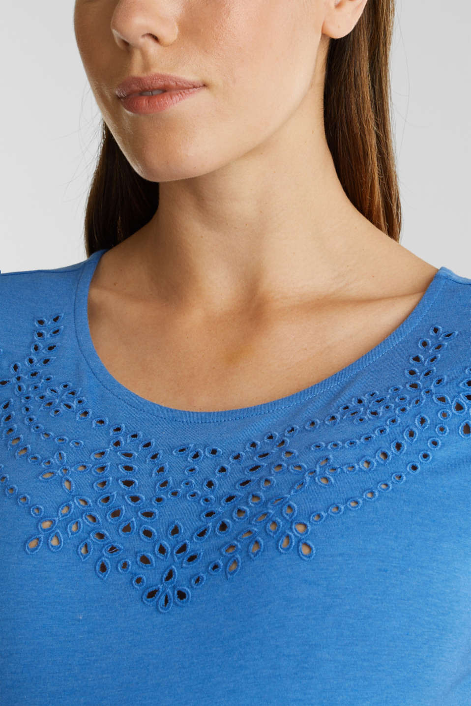 T-shirt with broderie anglaise, LCGREY BLUE, detail image number 2