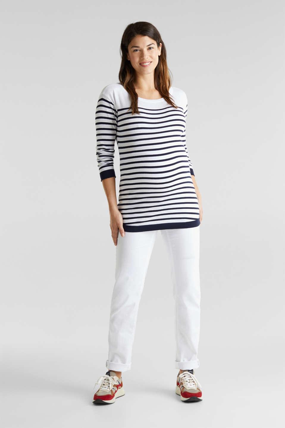 Fine knit jumper, 100% cotton, LCWHITE, detail image number 1
