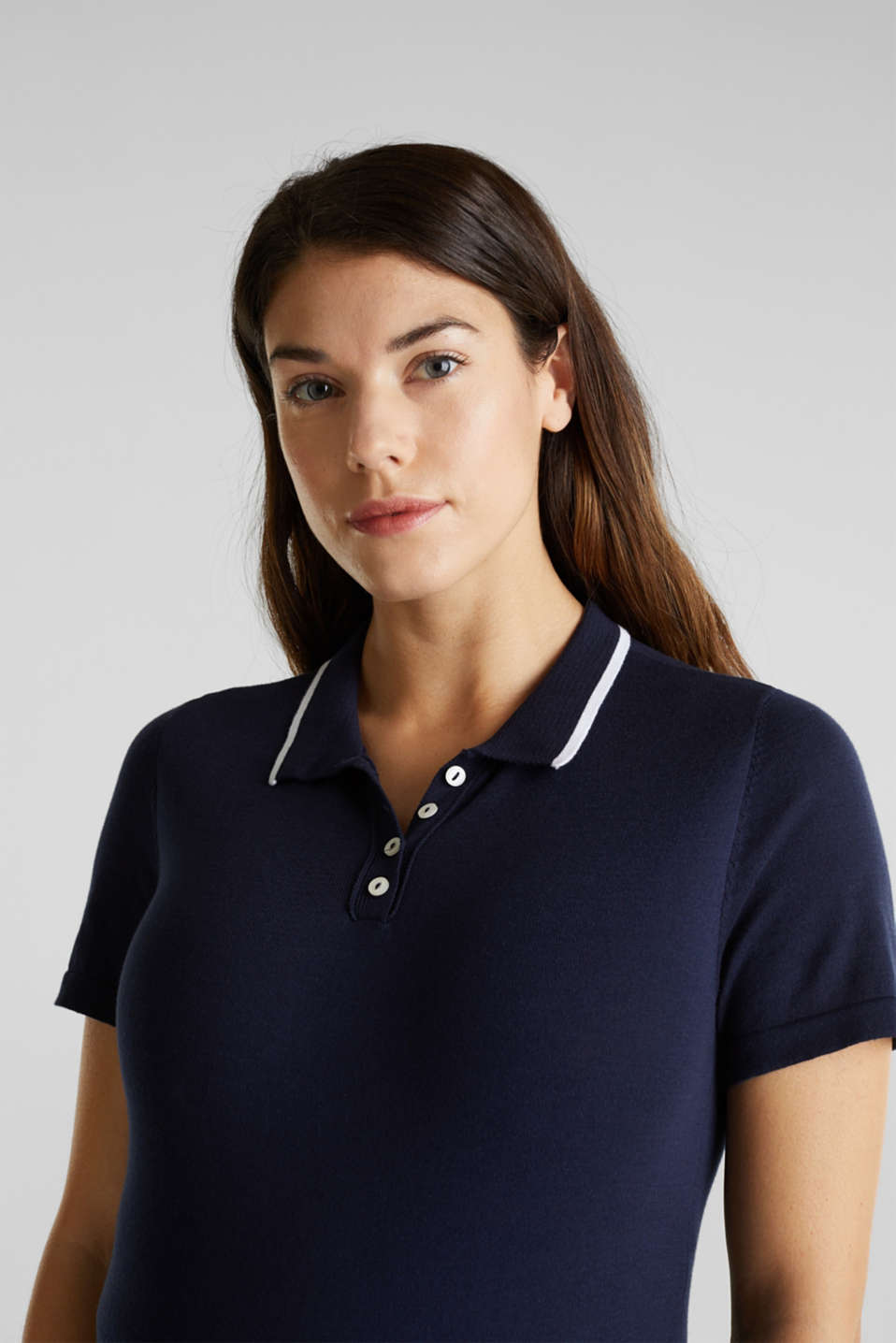 Fine knit polo shirt, 100% cotton, LCNIGHT BLUE, detail image number 2