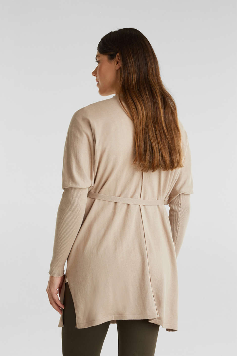 Cardigan with a belt, 100% cotton, LCBEIGE, detail image number 3