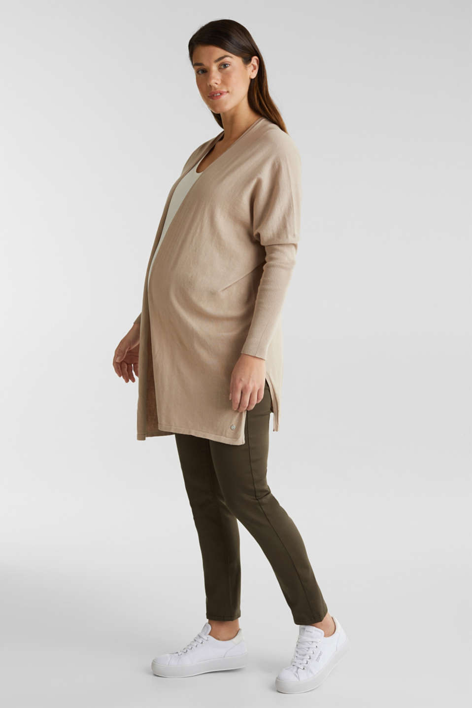Cardigan with a belt, 100% cotton, LCBEIGE, detail image number 1