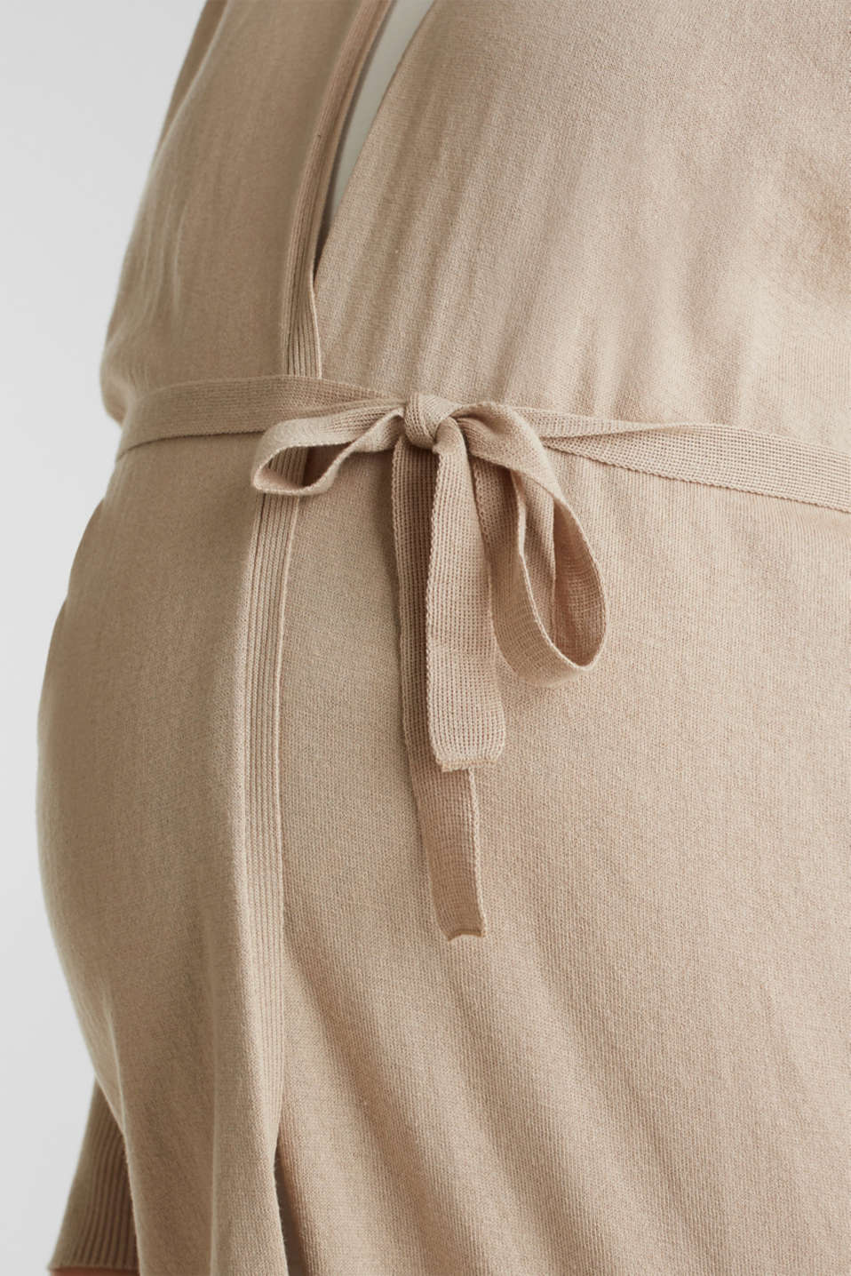 Cardigan with a belt, 100% cotton, LCBEIGE, detail image number 2