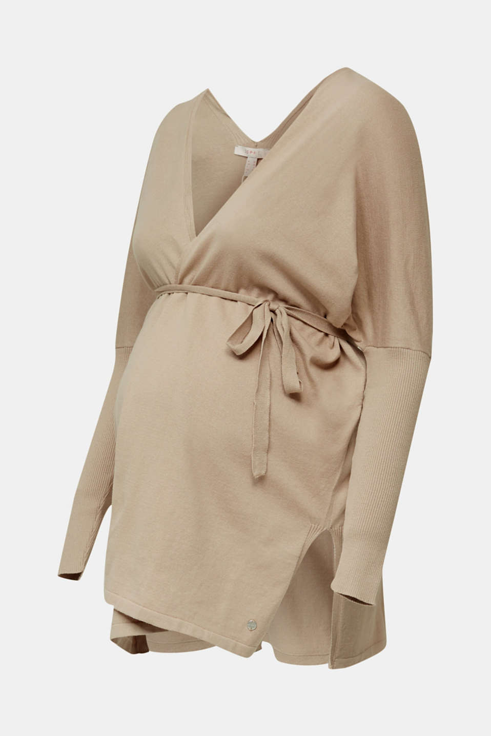 Cardigan with a belt, 100% cotton, LCBEIGE, detail image number 5