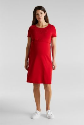 Jersey dress with broderie anglaise, RED, detail