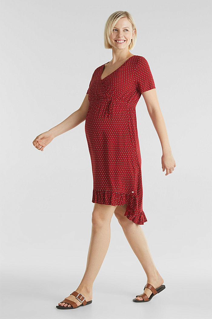 Nursing wrap dress, RED, detail image number 0