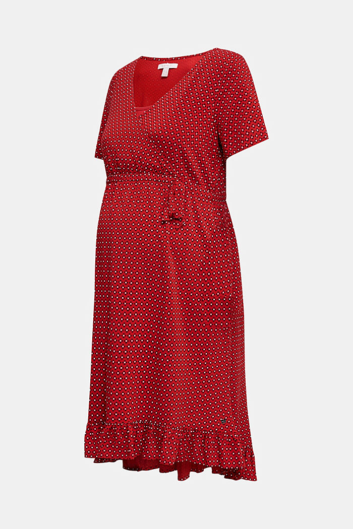 Nursing wrap dress, RED, detail image number 6
