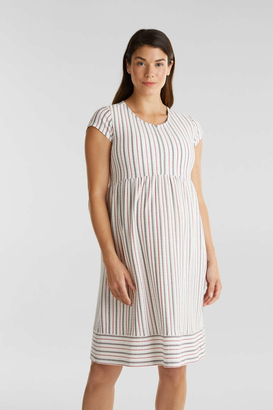 Nursing dress with textured stripes, LCOFF WHITE, detail image number 0
