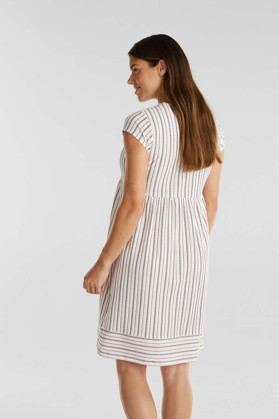Nursing dress with textured stripes, LCOFF WHITE, detail image number 2