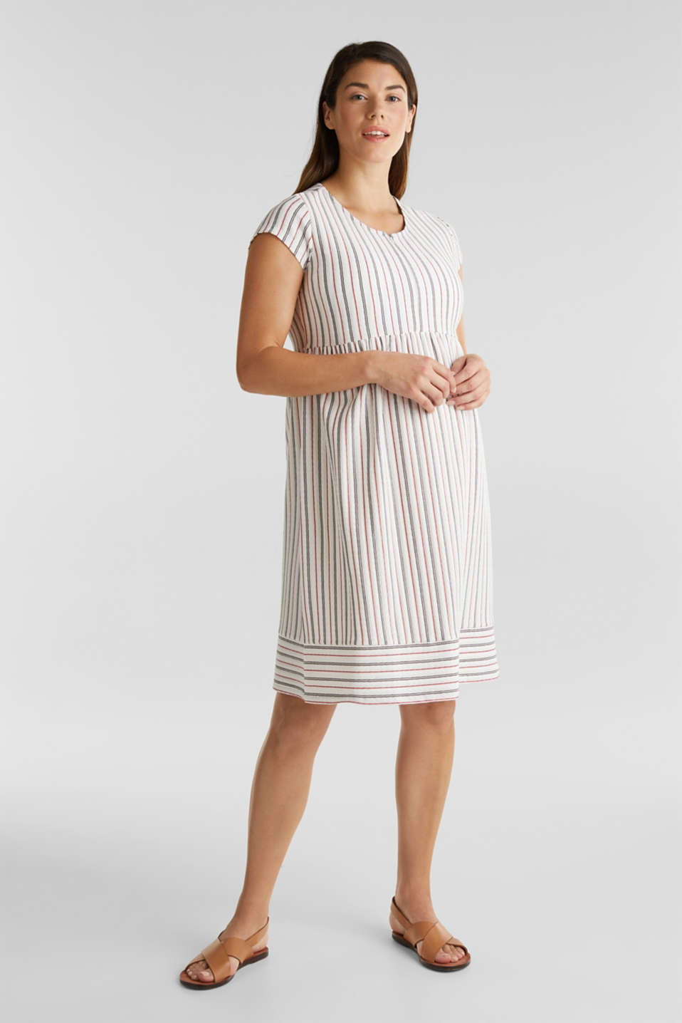 Nursing dress with textured stripes, LCOFF WHITE, detail image number 1