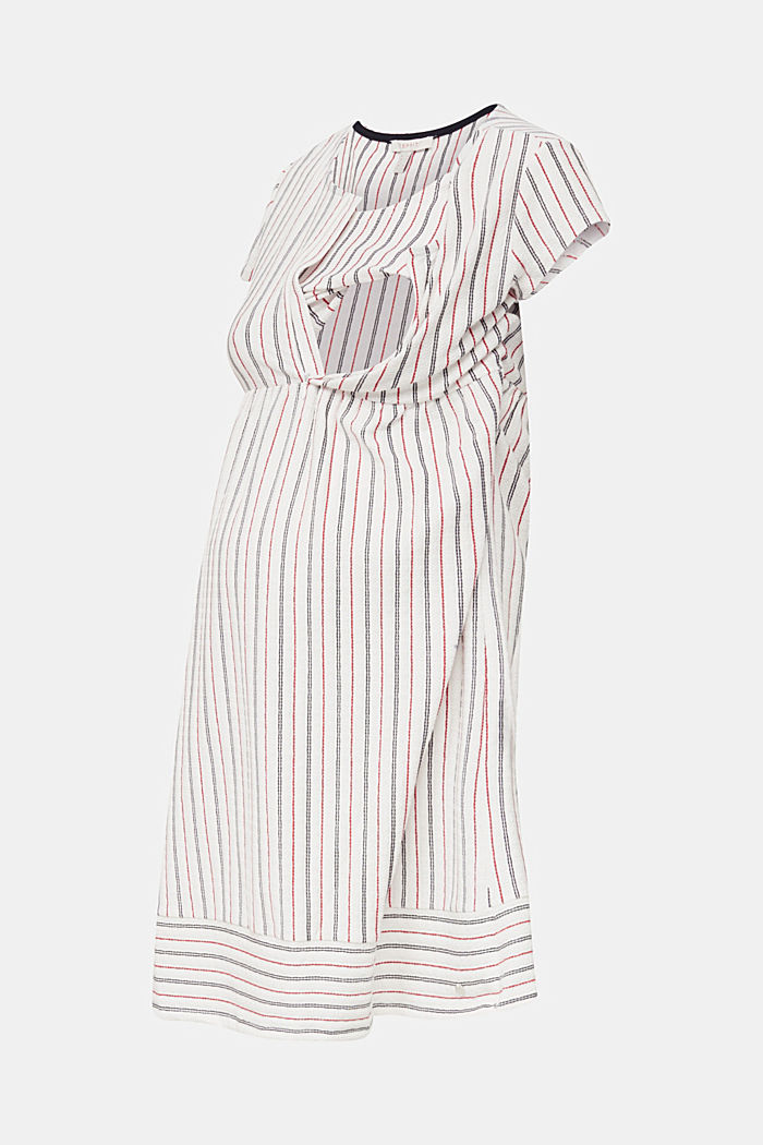 Nursing dress with textured stripes, OFF WHITE, detail image number 5
