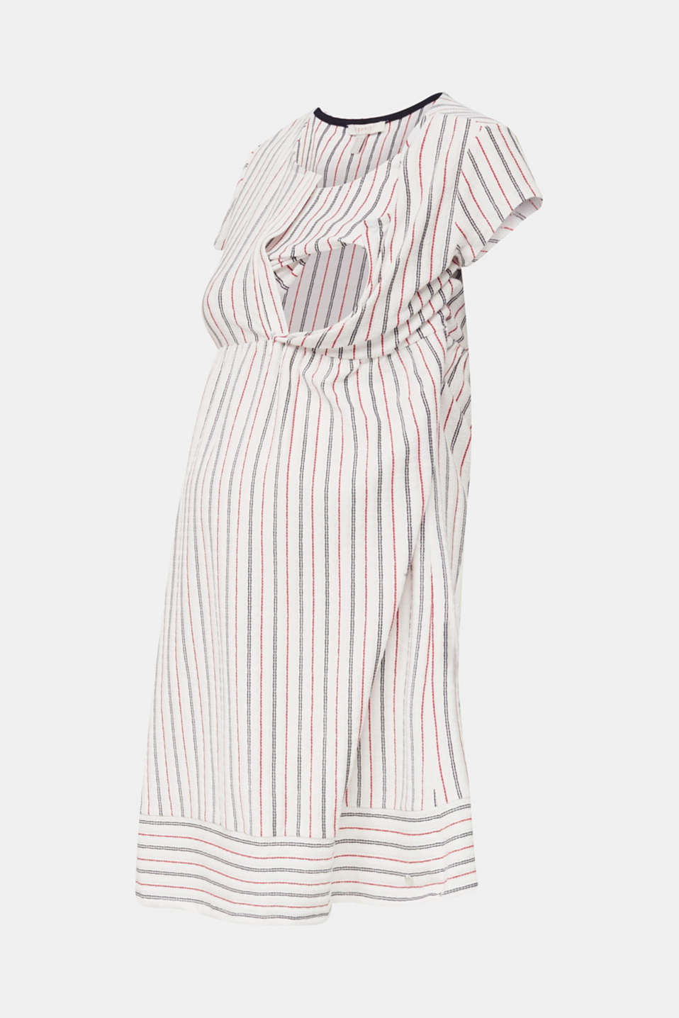Nursing dress with textured stripes, LCOFF WHITE, detail image number 5