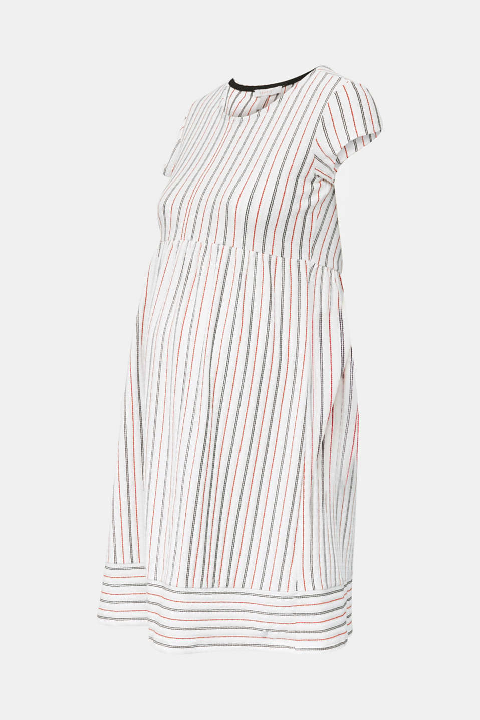 Nursing dress with textured stripes, LCOFF WHITE, detail image number 6