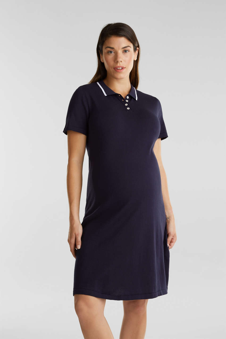 Polo knit dress, 100% cotton, LCNIGHT BLUE, detail image number 0
