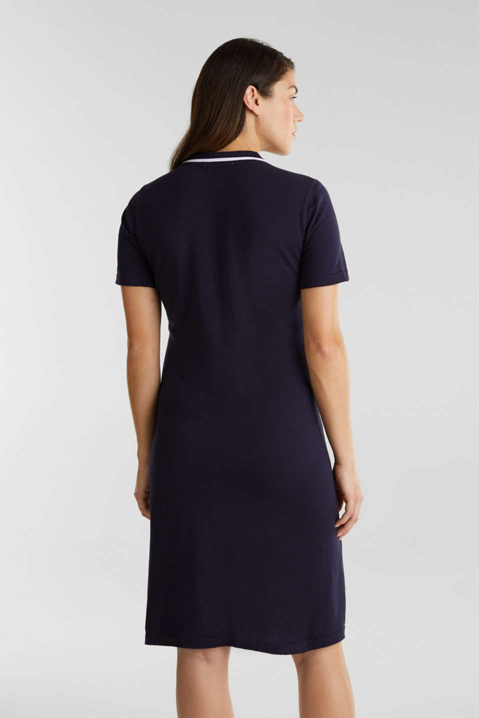 Polo knit dress, 100% cotton, LCNIGHT BLUE, detail image number 2