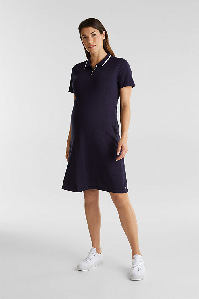 Polo-Strickkleid, 100% Baumwolle, NIGHT BLUE, detail image number 1