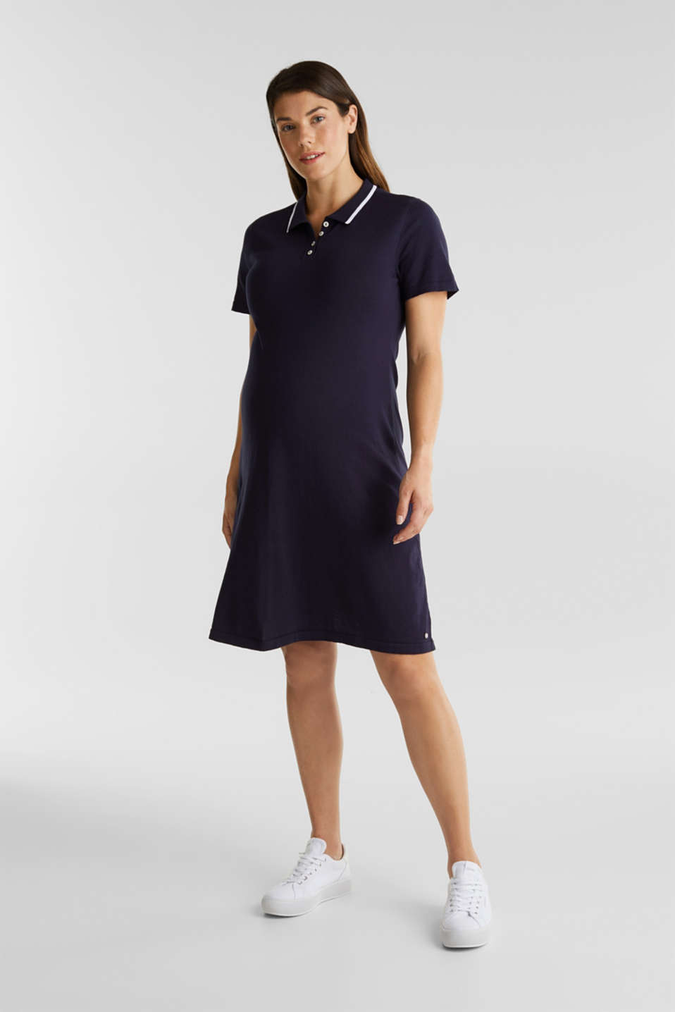 Polo knit dress, 100% cotton, LCNIGHT BLUE, detail image number 1