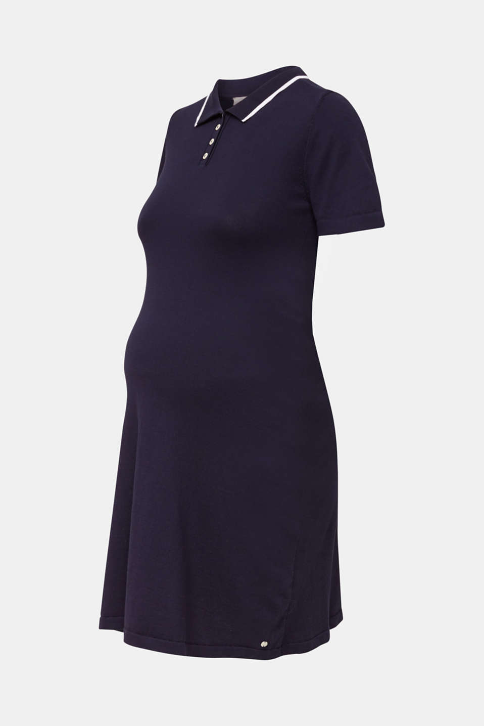 Polo knit dress, 100% cotton, LCNIGHT BLUE, detail image number 5