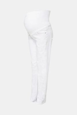 Basic jeans with an over-bump waistband, WHITE, detail